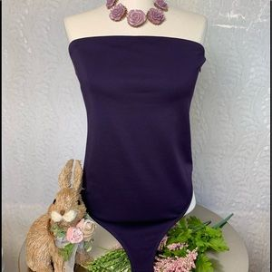 Express Strapless Top Body Suit -Purple-Large-Hot